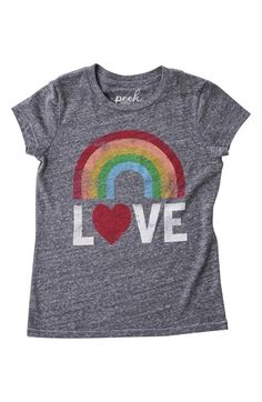 Peek 'Rainbow Love' Graphic Print Tee (Toddler Girls, Little Girls & Big Girls) available at #Nordstrom
