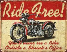 Plaque métal Ride Free Motorcycle #decoration #retro #plaque
