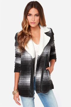 """Add a shake of shearling to any adorable coat, and you'll have one of this season's top sensations! The Jack by BB Dakota Aliso Black and Grey Coat is amazingly versatile with a felted grey, black, and ivory plaid pattern that goes with so many looks. A faux shearling collar introduces an asymmetrical exposed zipper trimmed in black vegan leather, and two welted pockets at front. Fully lined in black sateen. Model is 5'8"""" and wearing a size X-small. Self: 85% Polyester, 5% Acrylic, 5% Wool…"""