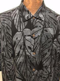 Tommy Bahama Mens 2XL Charcoal Gray & Black Silk Tropical Leaves Hawaiian…