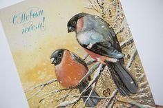 Couple of bullfinch birds romantic winter postcard  by SovietEra