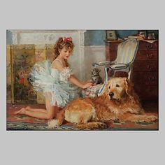 【今だけ☆送料無料】 アートパネル  人物画1枚で1セット わんちゃん 犬 少女 バレリーナ【納期】お取り寄せ2~3週間前後で発送予定