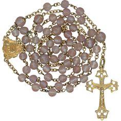 French Art Nouveau Gold Vermeil & Saphiret Rosary