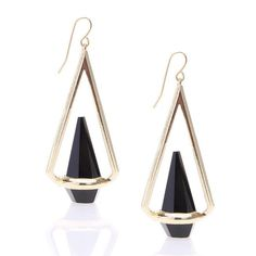 Yoins Yoins Triangle Earrings (€5,63) ❤ liked on Polyvore featuring jewelry, earrings, black, triangular earrings, pendant earrings, black pendant, black gold earrings and pendant jewelry