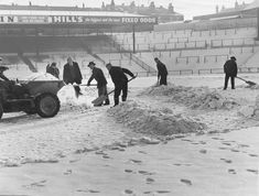 Birmingham City ground staff clearing snow from the pitch at St Andrews in January 1963 The big freeze, 1963 - Birmingham Live Grey Wallpaper Iphone, Big Freeze, Birmingham City Fc, Children's Films, Brecon Beacons, Down The River, Football Photos, Leeds United, Football Stadiums