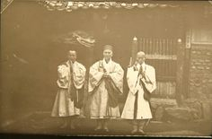 Buddhist monks from the Flower Stream Temple. Percival Lowell photo ca. 1882.