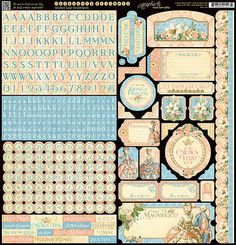 Graphic45 GILDED LILY 12x12 Sticker Sheet scrapbooking FRENCH CULTURE