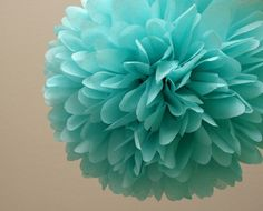 Aqua Tissue Paper Pom Wedding Decor / Bridal Shower / Tiffany Blue by PartyPoms… Bleu Tiffany, Tiffany Blue Party, Verde Tiffany, Azul Tiffany, Tiffany Wedding, Tiffany's Bridal, Bridal Shower, Shower Baby, Blue Bridal