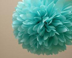 Aqua Tissue Paper Pom Wedding Decor / Bridal Shower / Tiffany Blue by PartyPoms, $4.00