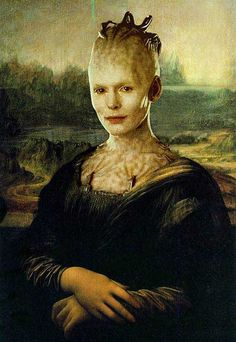 Borg Lisa...the Mona Lisa has been the subject of many, many, many alternate versions. This one is a bit creepy, but if you are a Star Trek fan it's pretty cool.