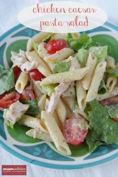 Chicken Caesar Pasta Salad-delish. Just used one cooked chicken breast, made the ceasar dressing from lish-pizza recipe and added the red wine vinegar, lettuce, tomatoes, croutons, pasta, and cheese. It was a hit...kyle had 4 plates of it.