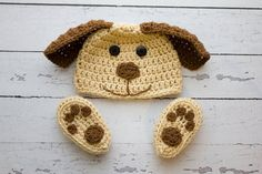 Crochet Newborn baby dog hat booties set crochet Newborn photo props photography boy girl- Made to order on Etsy, $30.00