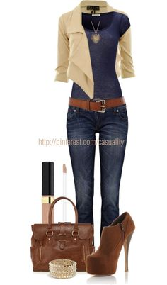 """Denim & Brown Ankle Booties"" by casuality on Polyvore"