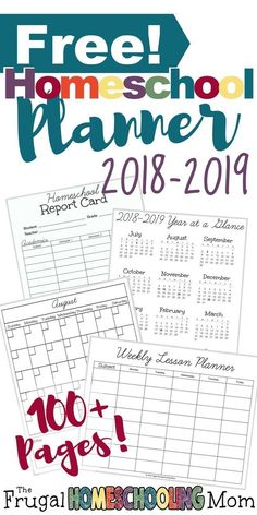 Free printable homeschool planner calendar from The Frugal Homeschooling Mom 2018-2019
