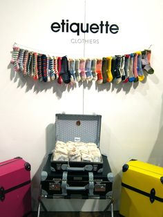 hang s'wet with bin of rolled bags underneath. Craft Show Displays, Store Displays, Display Design, Store Design, Fashion Design For Kids, Kids Fashion, Sock Display, Sock Store, Sock Organization