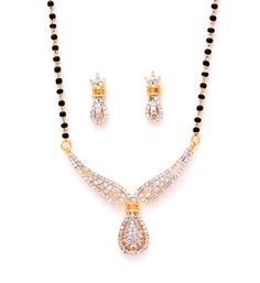 White CZ Diamond Studded Mangalsutra Online Shopping: JVM621