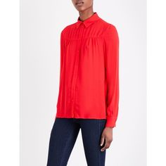 MAJE Coleta crepe shirt ($190) ❤ liked on Polyvore featuring tops, red shirt, red long sleeve top, pleated shirt, oversized long sleeve shirt and red top
