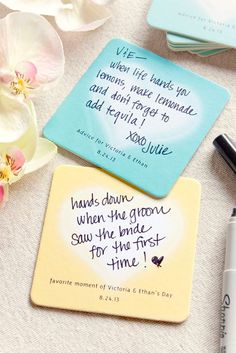 Cute coasters with advice for the newlyweds and best bit of the day
