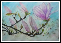 Awakening of the nature par Manuèle Derreumaux sur Etsy Magnolia Flower, Awakening, Watercolor Paintings, Clever, This Or That Questions, The Originals, Nature, Flowers, Pink