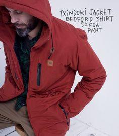 Txindoki Jacket // Bedford Shirt // Sokoa Pant Athletic, Pants, Jackets, Shirts, Fashion, Man Women, Women, Trouser Pants, Down Jackets