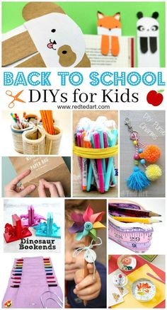 Back to School DIY Ideas - Stationery Crafts - Red Ted Art diy crafts for kids - Kids Crafts Diy Crafts For Adults, Diy And Crafts Sewing, Diy Crafts For Kids, Easy Crafts, Kids Diy, Diy Crafts For School, Summer Crafts, School Supplies Tumblr, Diy School Supplies