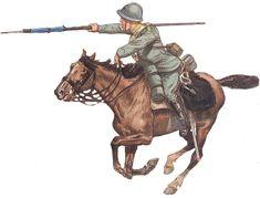 """Włoski kawalerii mundury: Kawalerzysta 4 Regiment Kawalerii """"Genua"""" 1917."""