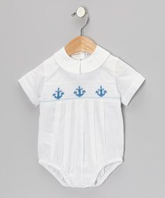 Look what I found on #zulily! White Anchor Smocked Pleated Bubble Bodysuit by Rosalina #zulilyfinds