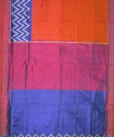 Buy Deep Mustard and Blue Ikat Silk Saree(KGANI03) available online from Karghaa.com #onlineshopping #shoponline #handlooms #handwoven #silksarees