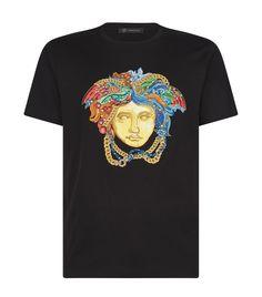 Versace Embroidered Medusa T-shirt In Black Versace Top, Versace T Shirt, Tailored Trousers, Tee Design, Medusa, Savage, Vibrant Colors, Runway, Street Style