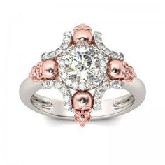 Four-skull Halo Round Cut Created White Sapphire Rhodium Plating Sterling Silver Skull Ring