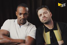 Sebastian ✪ Stan & Anthony Mackie stopped by at to hear all our thoughts post- and talk a bit about new suit. Our interview flying at you soon… Marvel Actors, Marvel Avengers, Marvel Memes, Female Thor, Anthony Mackie, The Martian, Bucky Barnes, Sebastian Stan, Winter Soldier