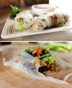 Turkey Spring Rolls #recipe via @Ree Drummond | The Pioneer Woman Ingredients include rice paper wrappers, turkey, soy sauce, rice wine vinegar, sesame oil, chopped cilantro, finely diced carrots, strips of cucumber, leafy lettuce, bean sprouts, cellophane noodles