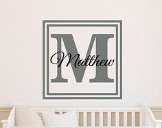 Childs Monogram Name Wall Decal Fancy Nursery Personalized Name - Monogram wall decals for business