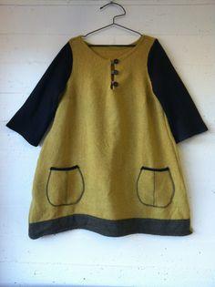 dress 4 materials: repurposed wool skirt and wool pattern: own