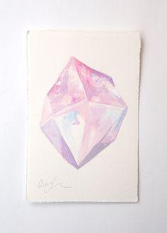 Rose Quartz Point - Original Watercolor Painting