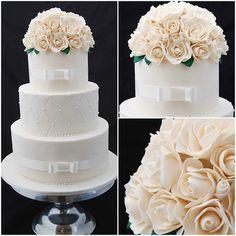 3 Tier Wedding Cake with Sugar Roses