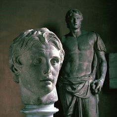 Statue and bust of Alexander the Great in the Istanbul archaeological museum