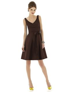 Short, brown bridesmaid dress