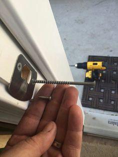 Help prevent door being kicked in by replacing screws with 4 inch ones