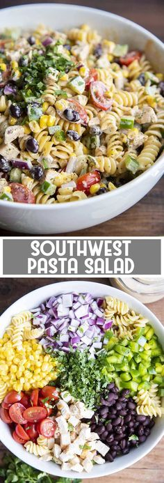 his southwest pasta salad is full of cold pasta, grilled chicken, and veggies, all coated in a delicious chipotle ranch dressing. It& a perfect side dish for a summer bbq or potluck, or for a lighter lunch or dinner anytime. recipes with chicken Cold Side Dishes, Side Dishes For Chicken, Summer Side Dishes, Side Dish For Potluck, Hamburger Side Dishes, Summer Pasta Salad, Summer Salads, Summer Bbq, Cold Pasta Salads