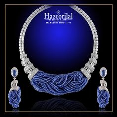 Twisted sapphire beads between diamond spirals to create a unique piece of art. #HazoorilalBySandeepNarang #Diamonds #finejewelry #Sapphires #Hazoorilal