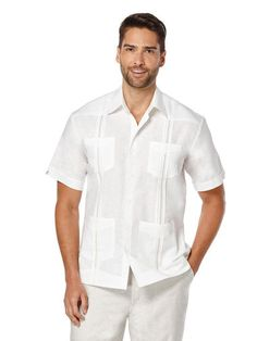 Short Sleeve Linen Front Insert Guayabera, Bright White, hi-res