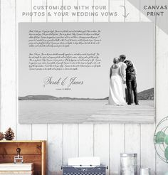 "This canvas wedding vow art print makes a sweet keepsake and awesome first anniversary gift for your husband or wife. We customize the canvas with your weddings vows in whichever font and color you select with the photo you provide. ***************************** PRINT TYPE - PLEASE READ!  This vows art print comes printed on gallery quality canvas artfully wrapped on a 0.75"" wooden frame, ready to hang on the wall.  PRINTED ON MATTE PAPER: If you wish to get this same design printed on a…"