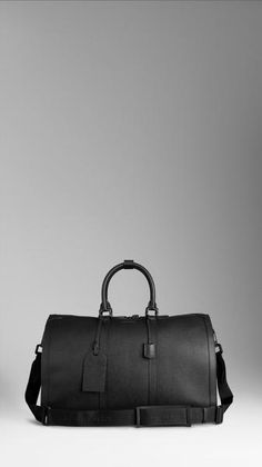 Burberry Large Leather Duffle Bag in Black for Men