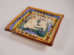 Square Clay Painted Souvenir Greece