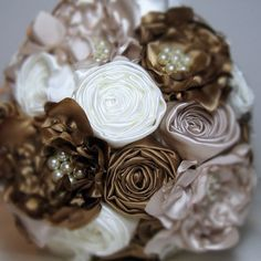 Satin Fabric Flower Bouquet in Champagne Gold and by HappyBlooms, $125.00