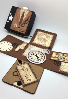 Pocket Watch Exploding Box Card -  Father's day card - Male Exploding Box Card