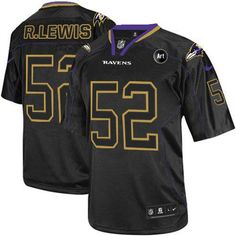 a75d455a2 Nike Ravens  52 Ray Lewis Lights Out Black With Art Patch Men s Embroidered  NFL Elite. Youth Football JerseysNhl ...