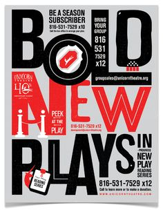 Unicorn Theatre Season Posters by Willoughby Design