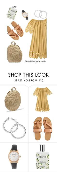 """""""Flower in your hair"""" by lolveme ❤ liked on Polyvore featuring Vanessa Seward, KYMA, J.Crew and philosophy"""